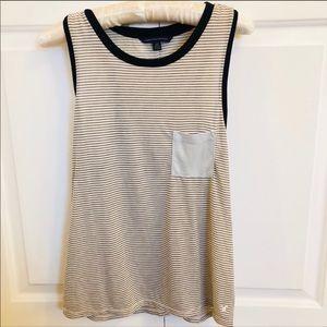 American Eagle cream & gray striped sleeveless top